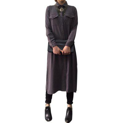 Turn Down Collar Long Sleeve Button Pocket Design Women Shirt Dress