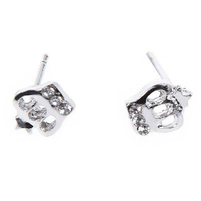 Ladies Imperial Crown Rhinestone Embellished Stud Earrings