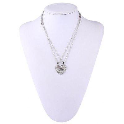 Heart Rhinestone Embellished Best Friends Two Flaps Necklace