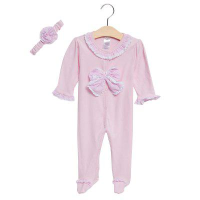 2pcs Cute Long Sleeve Solid Color Lace Bowknot Covered Button Newborn Babies Romper with Hairband