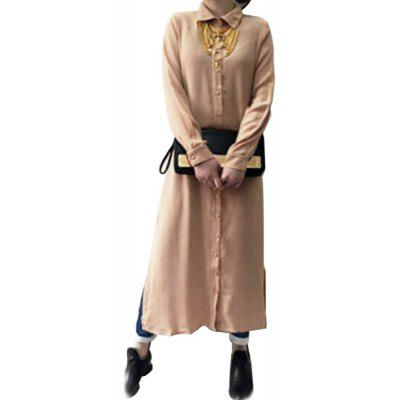 Casual Turn Down Collar Long Sleeve Solid Color Women Shirt Dress