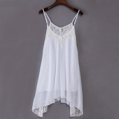 Sweet Spaghetti Strap Lacework Design Asymmetrical Mini Dress for Women