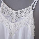 Sweet Spaghetti Strap Lacework Design Asymmetrical Mini Dress for Women - WHITE