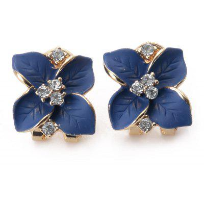 Flower Design Rhinestone Embellished Ladies Alloy Stud Earrings