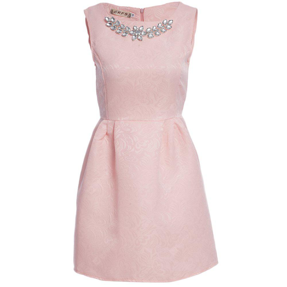 Elegant Round Collar Sleeveless Pure Color A-Line Women Ball Gown Dress with Necklace