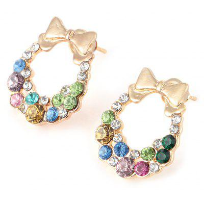 Bowknot Design Rhinestone Embellished Ladies Stud Earrings