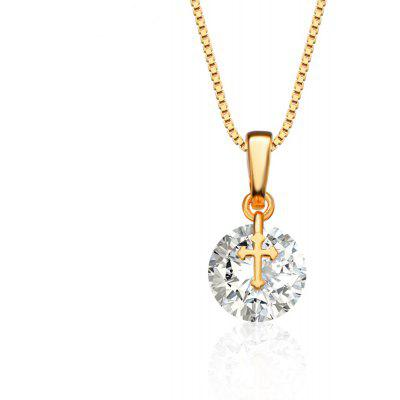 Cross Design AAA Cubic Zirconia Embellished 18K Gold Plated Pendant Necklace for Women