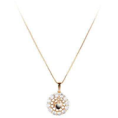 Women Swing Heart AAA Cubic Zirconia Embellished 18K Gold Plated Pendant Necklace