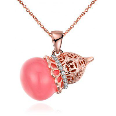 Calabash Design Resin Zircon Embellished Women Pendant Necklace