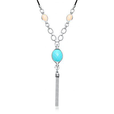 Tassel Design Resin Embellished Women Long Necklace
