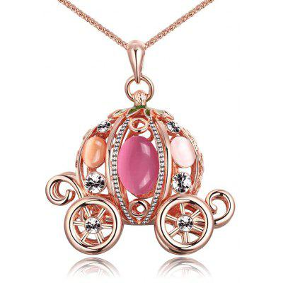 Zircon Faux Opal Embellished Rose Gold Plated Women Long Necklace