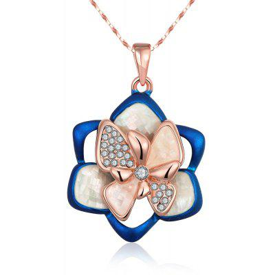 Floral Pattern Zircon Embellished Women Pendant Necklace