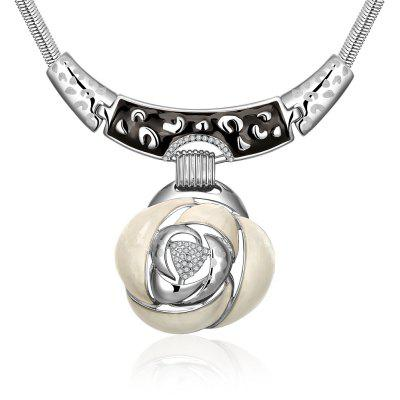 Rose Design Shell Zircon Embellished Women Pendant Necklace