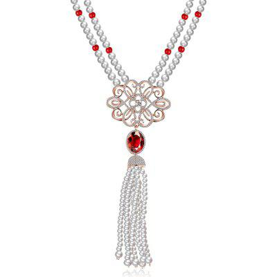 Hollow Flower Faux Pearl Tassel Design Zircon Embellished Ladies Long Necklace