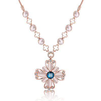 Flower Design Zircon Faux Opal Embellished Ladies Long Necklace