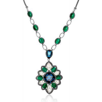 Flower Design Oil Drip Zircon Embellished Ladies Long Necklace