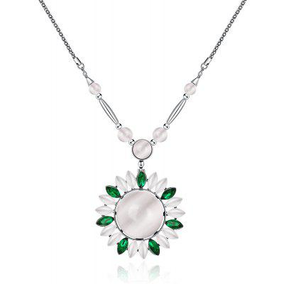 Flower Design Faux Opal Zircon Embellished Ladies Long Necklace