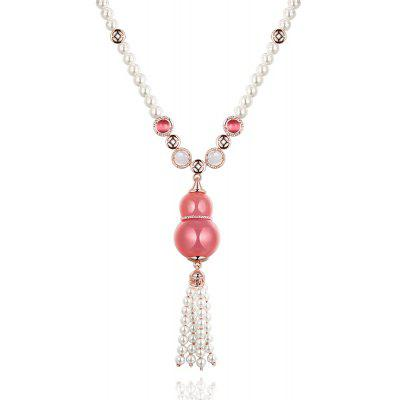 Calabash Design Zircon Embellished Faux Pearl Ladies Necklace