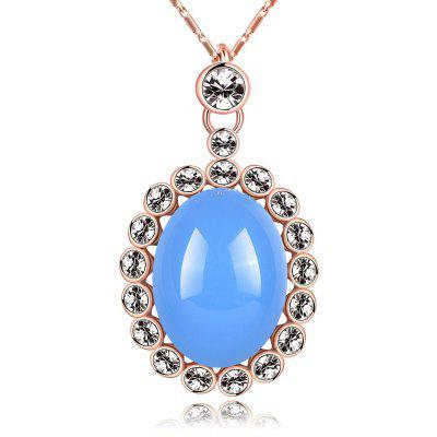 Geometric Design Resin Zircon Embellished Ladies Pendant Necklace