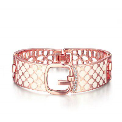 Solid Design Rose Gold Plated Ladies Hollow Bangle