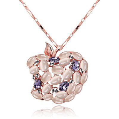 Fruit Design Zircon Faux Opal Embellished Women Long Necklace