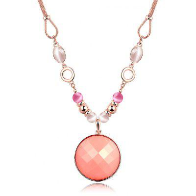 Round Resin Zircon Faux Opal Embellished Women Long Necklace