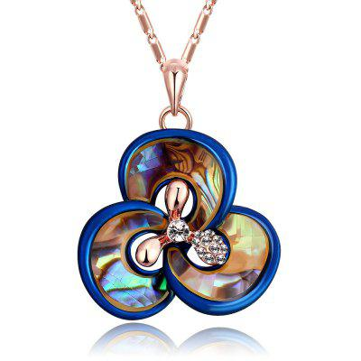 Flower Design Zircon Embellished Women Pendant Necklace