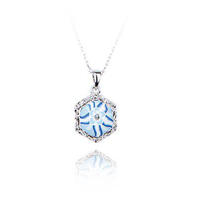 Hexagon Floral Pattern Rhinestone Embellished Women Pendant Necklace