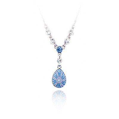Water Drop Floral Pattern Crystal Embellished Women Pendant Necklace