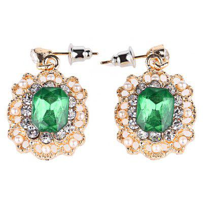Floral Pattern Faux Pearl Rhinestone Embellished Women Earrings