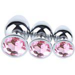 3PCS Small Middle Big Sizes Stainless Steel Metal Anal Plug with Diamonds Plated Anal Dildo Sex Toys Butt Plug for Women - PINK