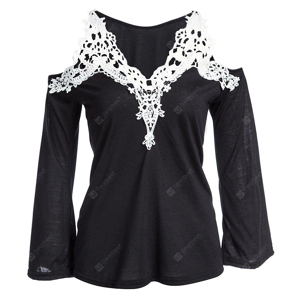 Sexy V-Neck Flare Sleeve Cut Out Lacework Deisgn Spliced Women T-Shirt