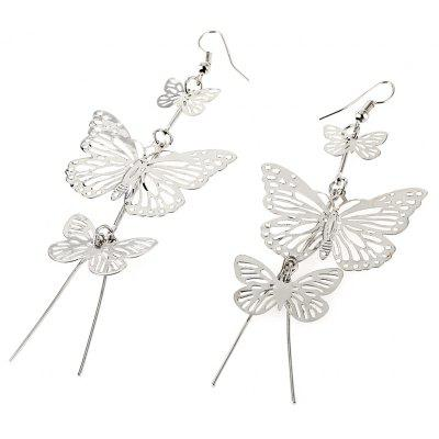 Ladies Hollow Out Butterflies Alloy Drop Earrings