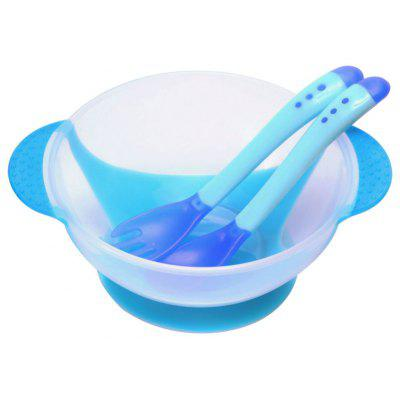 3pcs Bright Color Babies Bowl with Suction Cup Assist Temperature Sensing Spoon