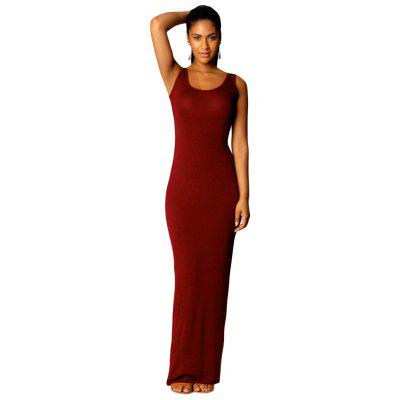 Round Neck Sleeveless Bodycon Solid Color Women Long Sundress