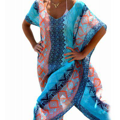 V-Neck Batwing Sleeve Tribal Print Chiffon Women Split Beach Dress