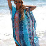 Bohemian V-Neck Batwing Sleeve Tribal Print Chiffon Women Split Beach Dress deal
