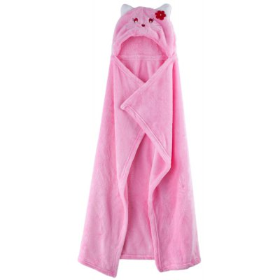 Cute Cartoon Animal Design Soft Coral Velvet Babies Cloak Blanket Bathrobe