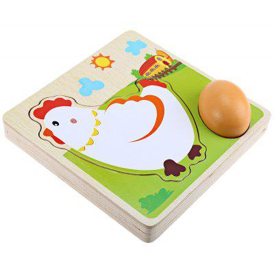 Hen Grow Up Process Wooden Building Block