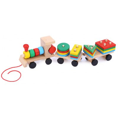 Colorful Stacking Wooden Train with 3 Blocks