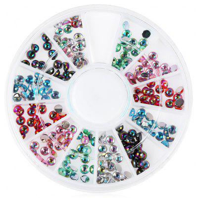 White Glitter Nail Rhinestone Pearls Wheel Round Heart Designs Nail Art Decorations