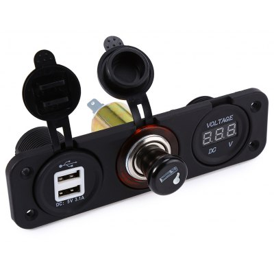 C891 - Z Dual USB Car Charger Cigarette Lighter Plug Voltage Meter