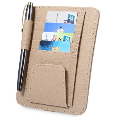 PU Leather Car Visor Card Holder Glasses Clip