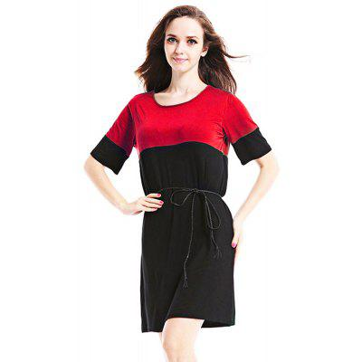 Casual Round Collar Short Sleeve Color Block Patchwork Loose with Belt Women Dress