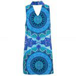 Old Classical Style Keyhole Neck Printed Straight Women Mini Dress - BLUE