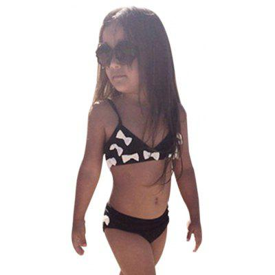2pcs Bowknot Strap Black Baby Girls Swimsuit Bikini Set