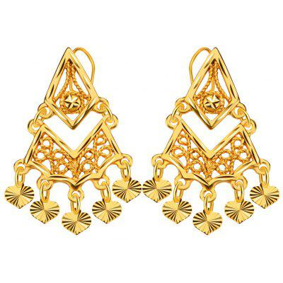 Women Heart Hollow Out 18k Gold Plated Drop Earrings