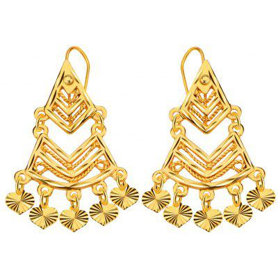 Women Heart Geometric 18k Gold Plated Drop Earrings