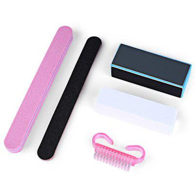 5pcs Professional Manicure Kit Rectangular Nail Files Brush Nail Art Accessories Styling Tools