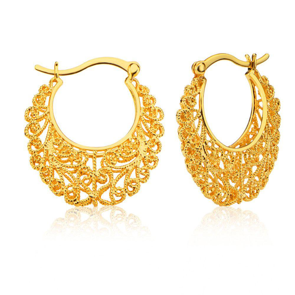 Women Hollow Out Plant 18k Gold Plated Hoop Earrings